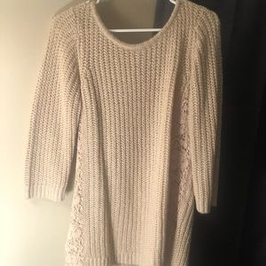 Lauren Conrad Nude Sweater, tie back with lace